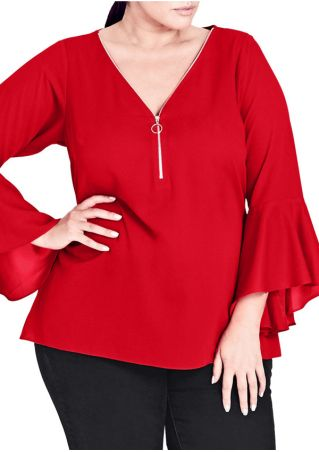 Plus Size Solid Zipper Flare Sleeve Blouse