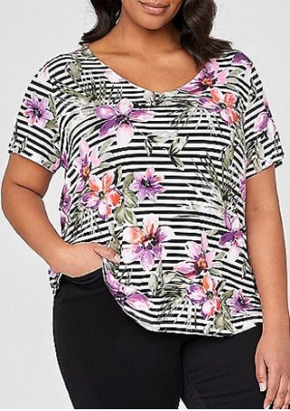 Plus Size Floral Striped Short Sleeve T-Shirt