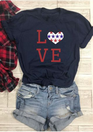 Love Heart Star O-Neck T-Shirt