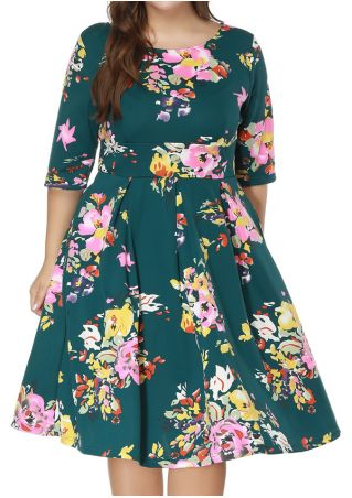 Plus Size Floral Ruffled Casual Dress