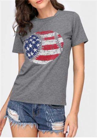 American Flag Baseball Printed T-Shirt