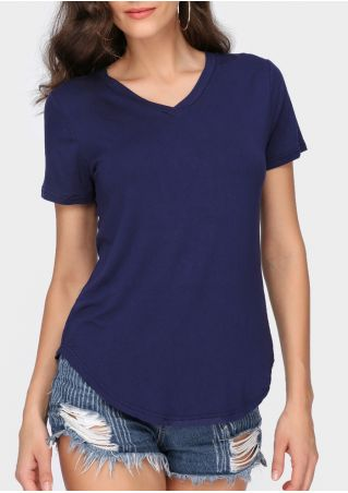 Solid V-Neck Short Sleeve T-Shirt without Necklace