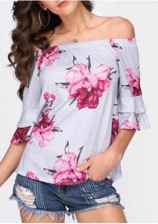 Floral Ruffled Off Shoulder Blouse