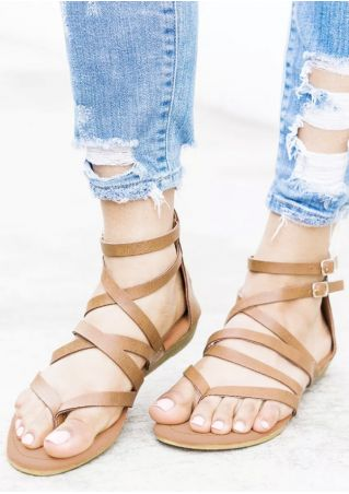 Solid Cross-Tied Buckle Strap Sandals