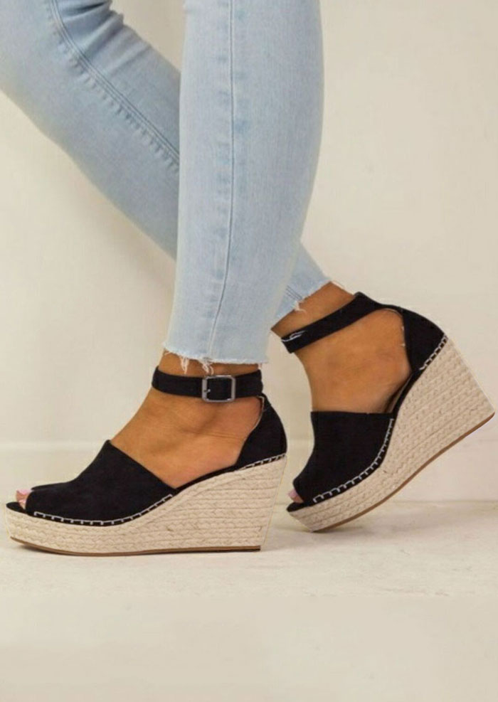 Summer Peep Toe Wedge Sandals