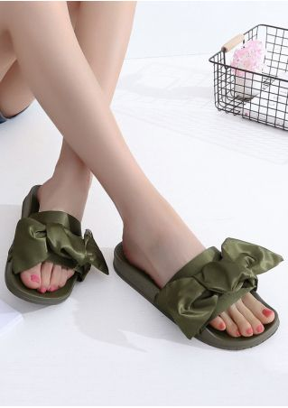 Solid Bowknot Flat Sandals