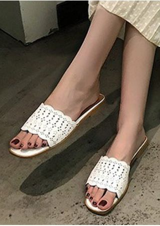 Solid Hollow Out Flat Sandals