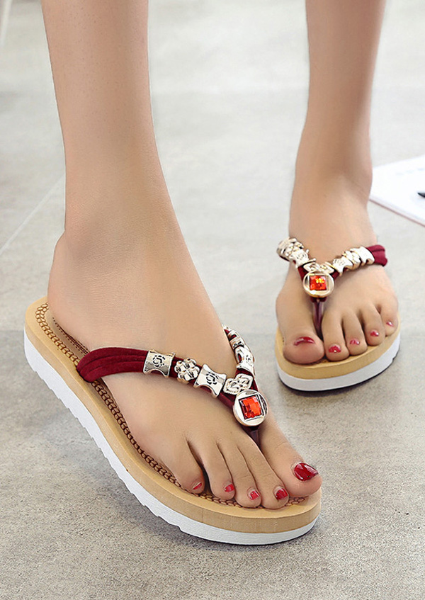 Image of Beading Flip Flop Flat Sandals