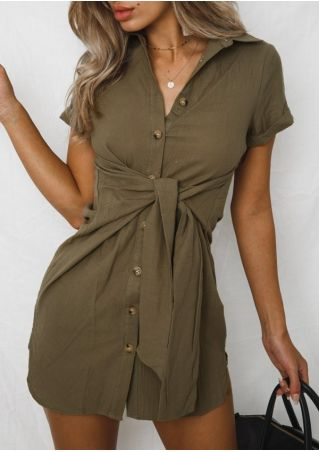 Solid Button Tie Mini Dress without Necklace