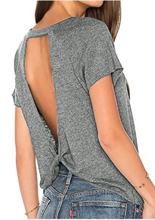Solid Twist Backless Blouse