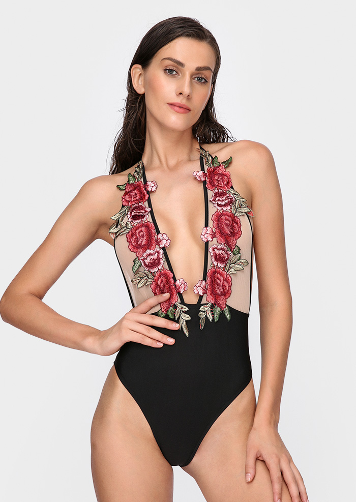 Image of Applique Splicing Sexy Swimsuit