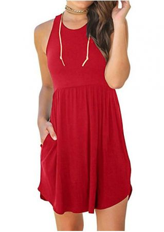 Solid Pocket Sleeveless Mini Dress without Necklace