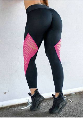 Splicing Hollow Out Sport Pants