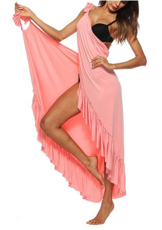 Solid Ruffled Wrap Cover Up Beach Dress