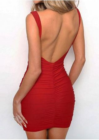 Solid Ruched Backless Bodycon Dress