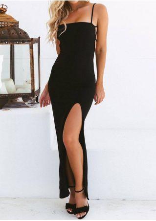 Solid Slit Spaghetti Strap Maxi Dress