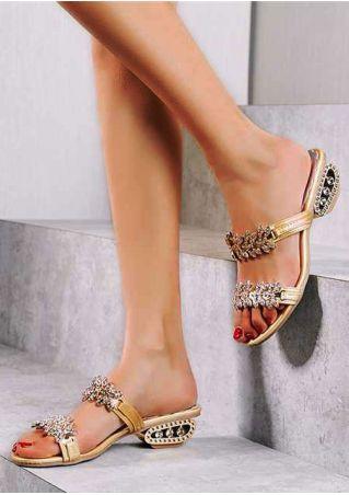 Imitated Crystal Heeled Sandals
