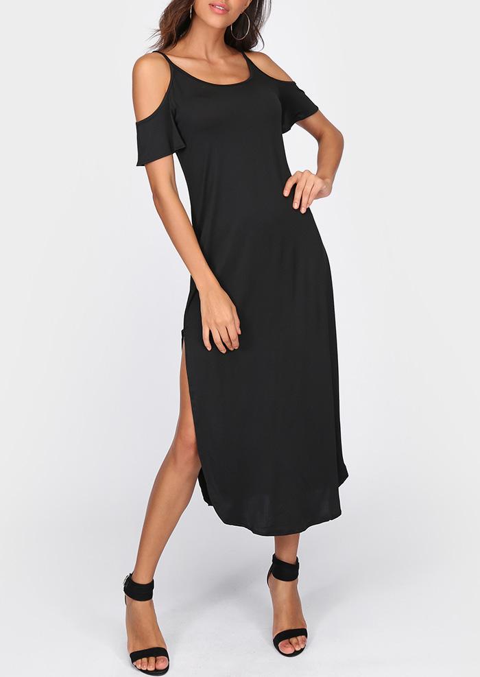 Solid Cold Shoulder Slit Maxi Dress 45673
