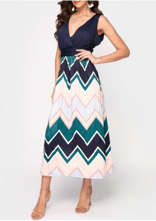 Zigzag Splicing Wrap Maxi Dress