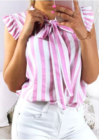Striped Tie Ruffled Blouse