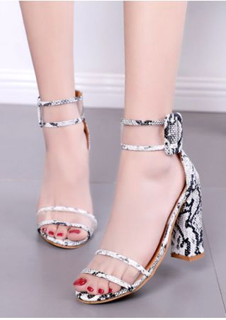 Snakeskin Buckle Strap Heeled Sandals
