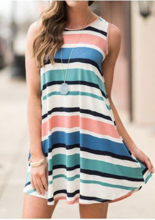 Striped O-Neck Sleeveless Mini Dress without Necklace