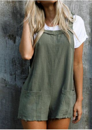 Solid Pocket Overall Romper