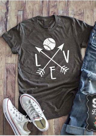 Love Baseball Arrow O-Neck T-Shirt