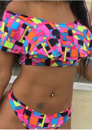 Geometric Printed Off Shoulder Bikini Set
