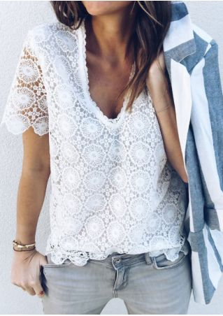 Solid Lace Deep V-Neck Blouse