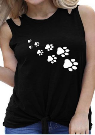 Paw Hollow Out Tie Tank