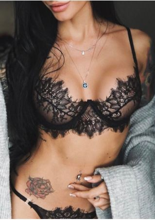 Solid Lace Lingerie Set without Necklace