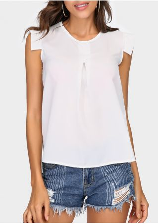 Solid Ruffled Casual Sleeveless Blouse