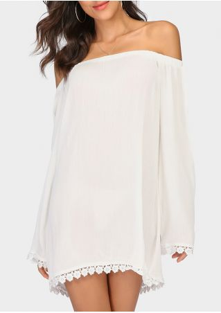 Solid Lace Splicing Off Shoulder Cover Up