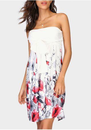 Floral Strapless Tie Mini Dress
