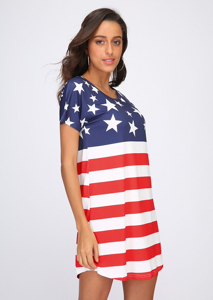 American Flag Printed Short Sleeve Mini Dress - Fairyseason