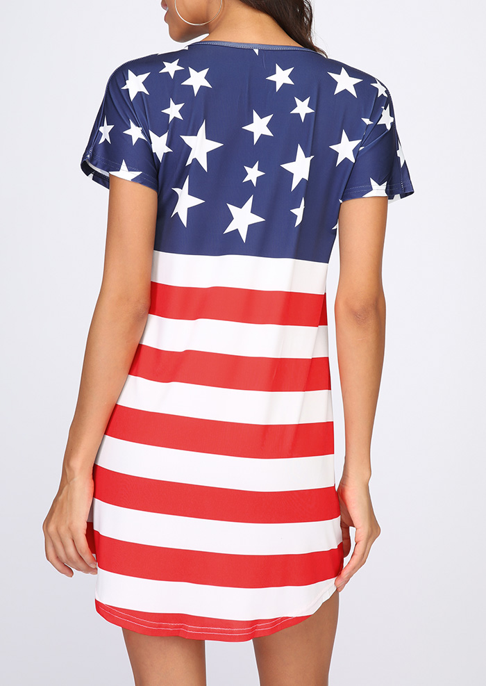 American Flag Printed Short Sleeve Mini Dress - Fairyseason