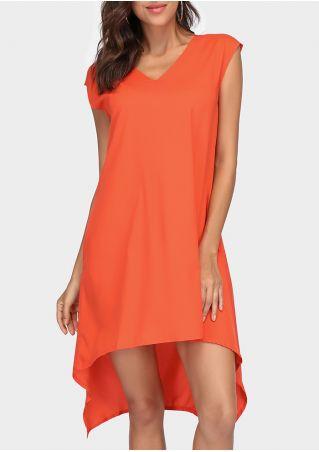 Solid Deep V-Neck Asymmetric Casual Dress