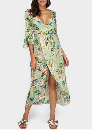 Floral Deep V-Neck Flare Sleeve Maxi Dress without Necklace