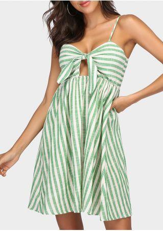 Striped Tie Spaghetti Strap Mini Dress without Necklace