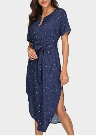 Polka Dot Deep V-Neck Casual Dress