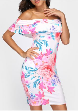 Floral Layered Off Shoulder Bodycon Dress