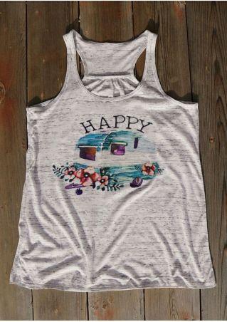 Happy O-Neck Racerback Tank