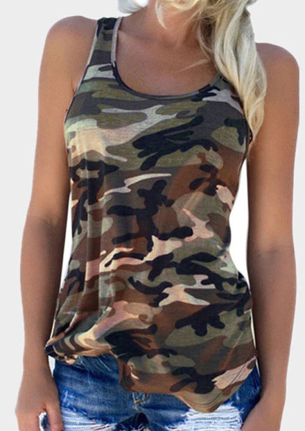 Tank Tops Camouflage Printed O-Neck Tank in Pink,Army Green,Navy Blue. Size: S,M,L,XL фото