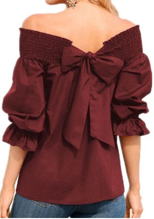 Solid Bowknot Off Shoulder Blouse