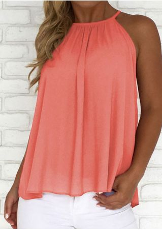 Solid Ruffled Button Camisole