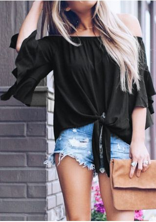Solid Off Shoulder Tie Blouse without Necklace
