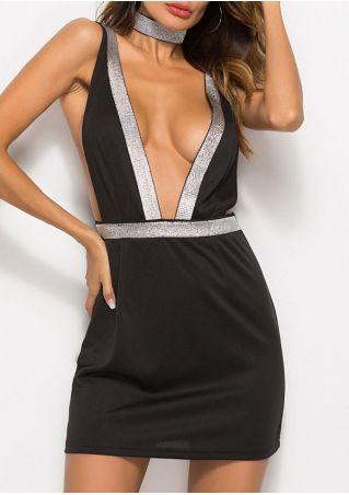 Splicing Deep V-Neck Mini Dress with Choker