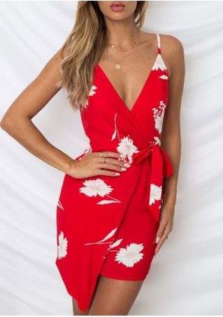 Floral Tie Deep V-Neck Mini Dress without Necklace