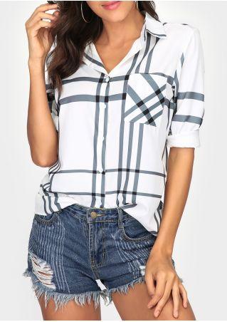 Plaid Asymmetric Button Shirt